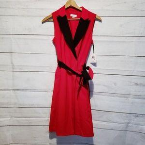 Calvin Klein Red Autumn Midi Dress Size 6